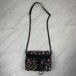 Rebecca Minkoff Black Floral Mini Mac Bag